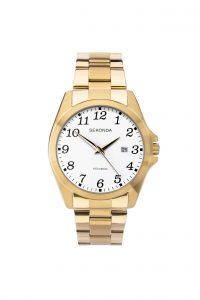Sekonda Men's White Dial Full Figure Gold Tone Bracelet Watch
